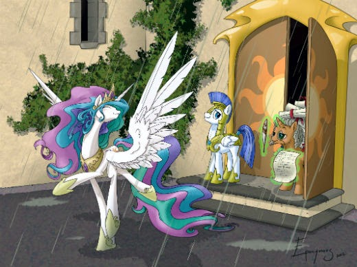 In my opinion Celestia is just the kind of ruler that would ditch her royal duties to check for rain ...
