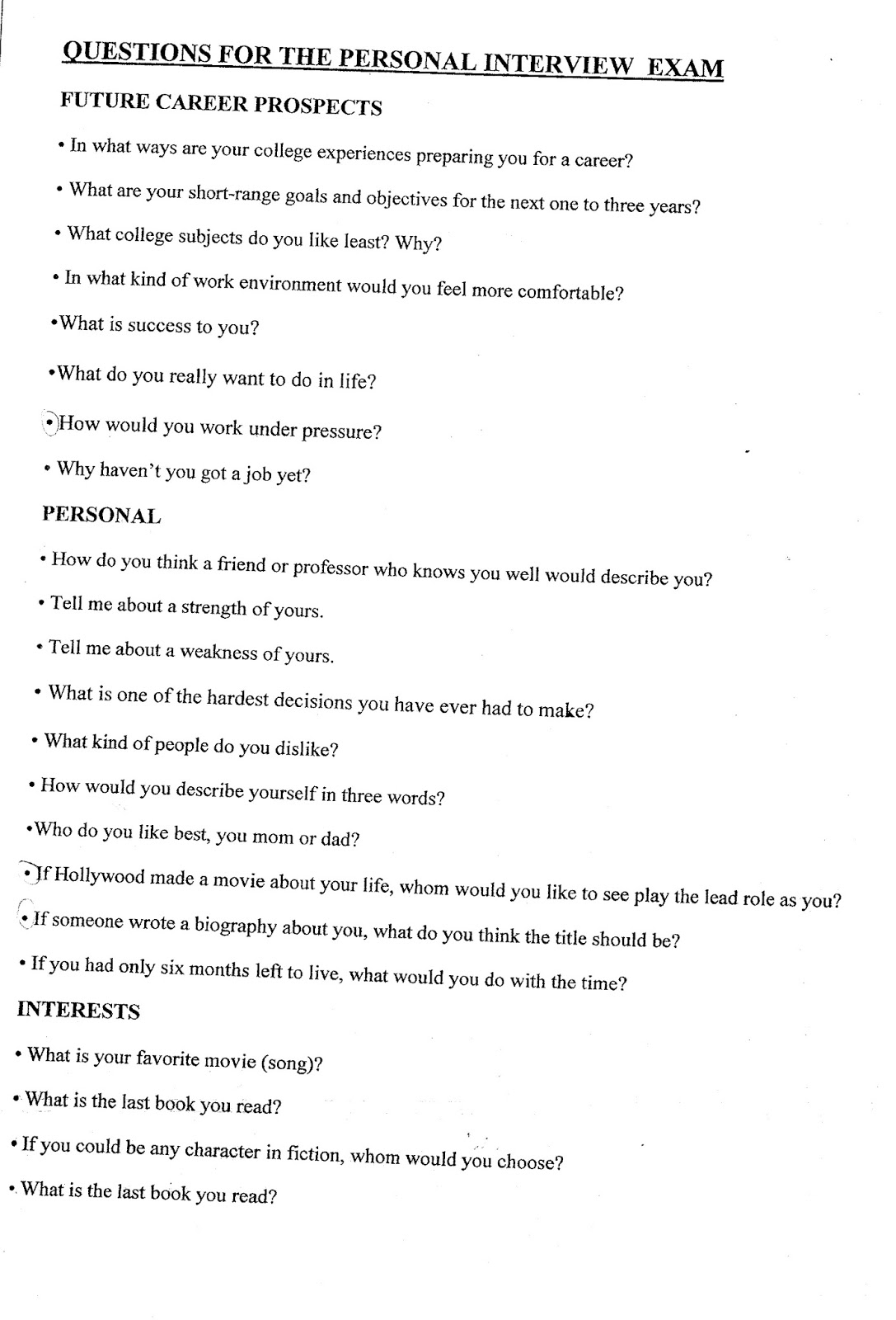 1º bach english ampliaciÓn mater purissima personal interview personal interview questions