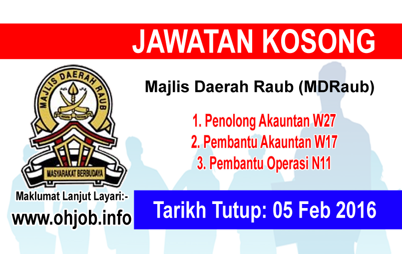 Jawatan Kerja Kosong Majlis Daerah Raub (MDRaub) logo www.ohjob.info februari 2016