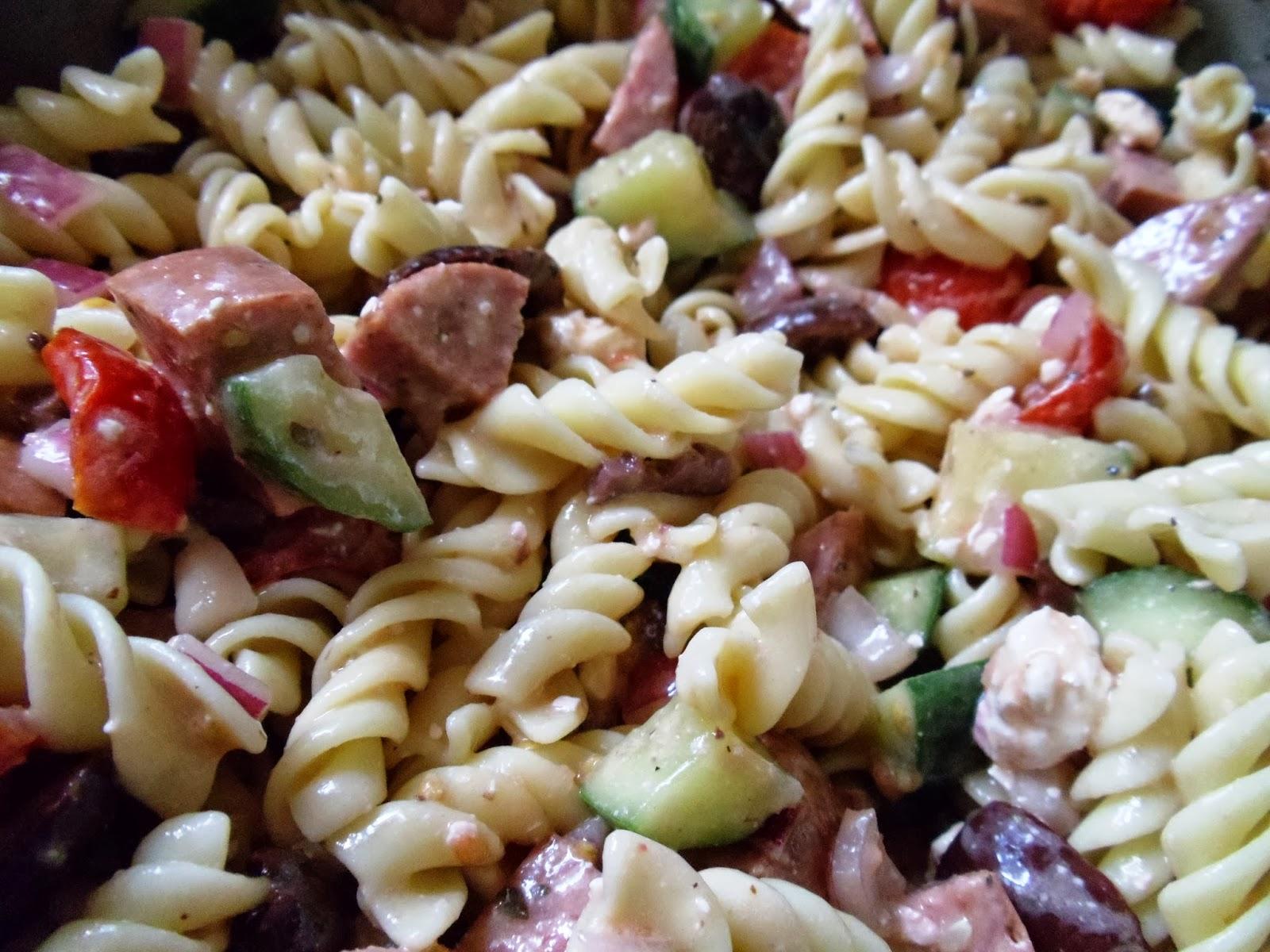 Omnivorous Indulgence: Greek Style Summer Sausage Pasta Salad