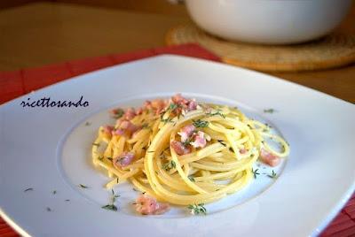 Pasta e pancetta al profumo di timo ricetta semplice di primi piatti