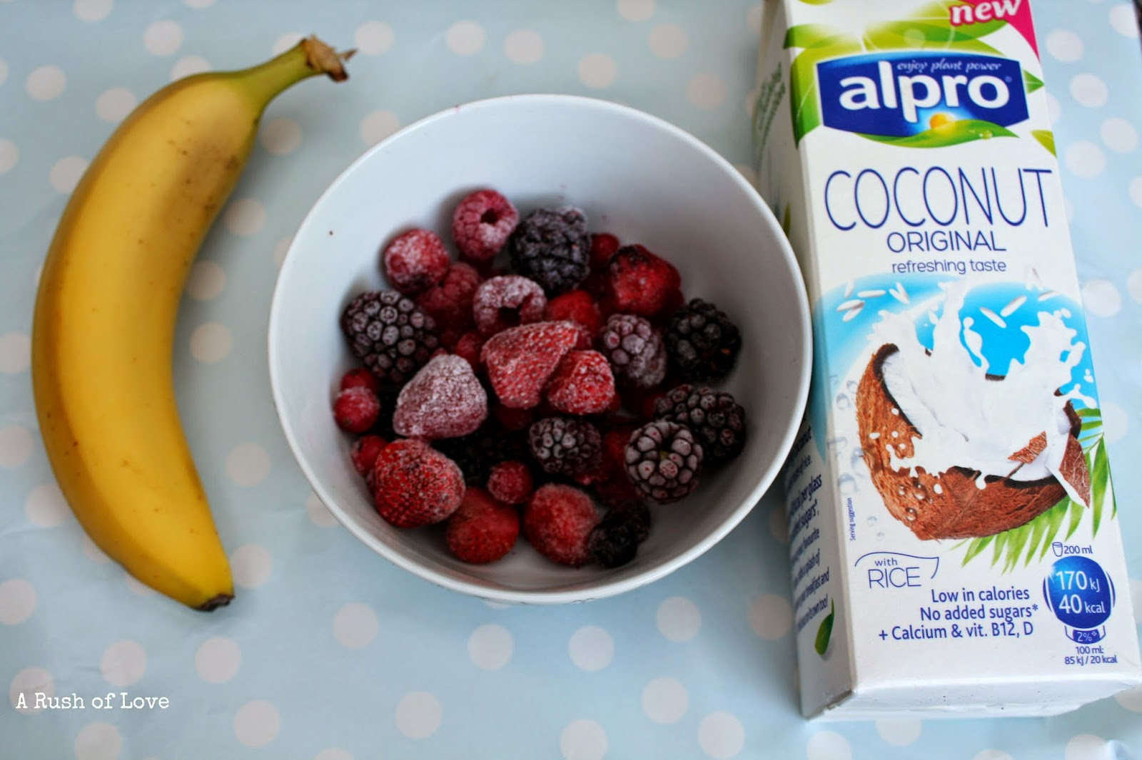 A rush of love dairy free coconut berry banana for Alpro coconut cuisine