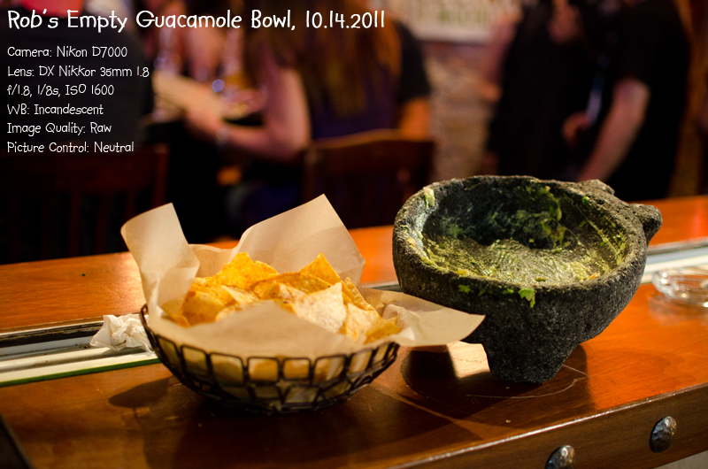 photo of an empty guacamole bowl at Rocco's Tacos in Fort Lauderdale, photo copyright 2011 Robert Giordano