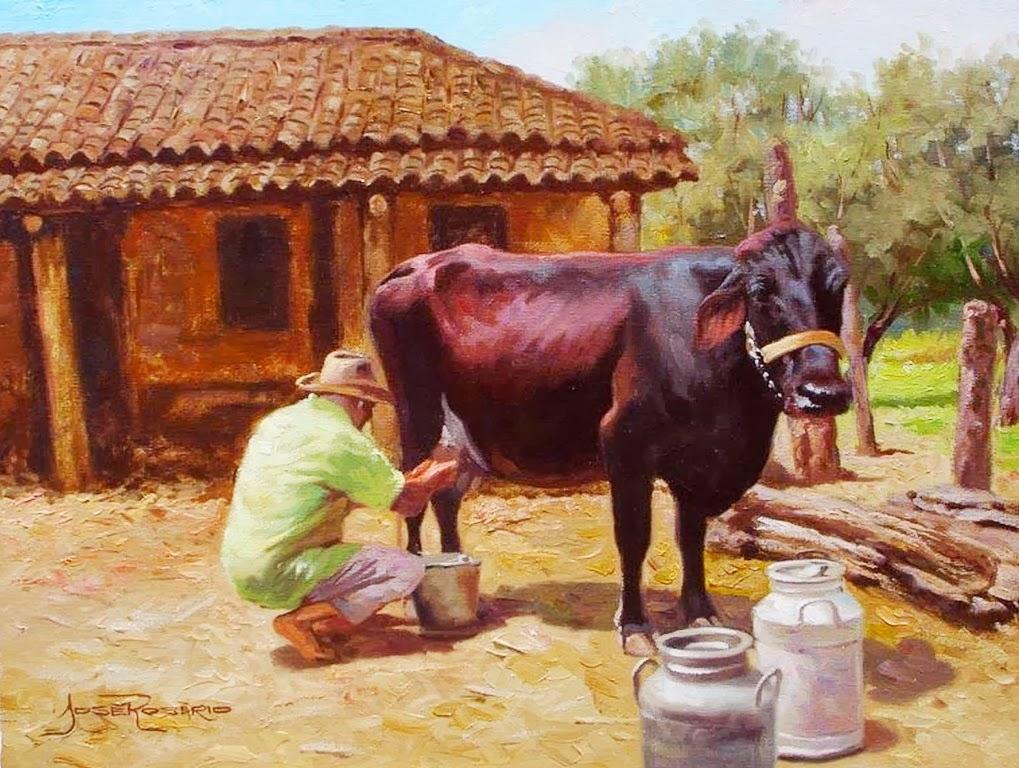 Arte pinturas leo paisajes rurales pinturas realistas - Cuadros de vacas ...
