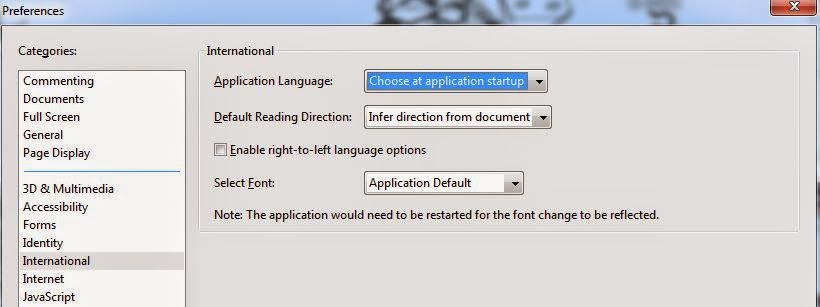 Adobe PDF reader change language shortcut