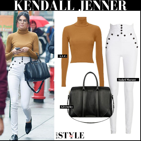 Kendall Jenner in camel turtleneck sweater and white jeans new york streetstyle fall 2015 trend