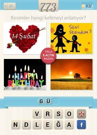 Resimli+Kelime+bulma+cevapları 14 şubat seni seviyorum happy birthday ve güneş doğuyor