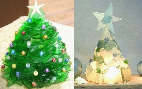 A merry seaglass christmas with trees ornaments garlands