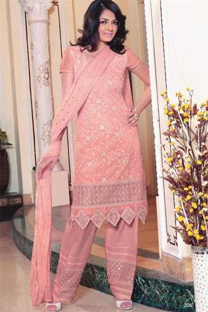 Stylish Pink Patterned Shalwaar kameez