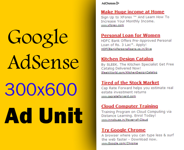 Google Adsense 300x600 ad unit