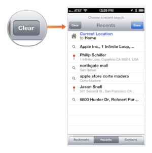 Delete Search History on Apple Maps