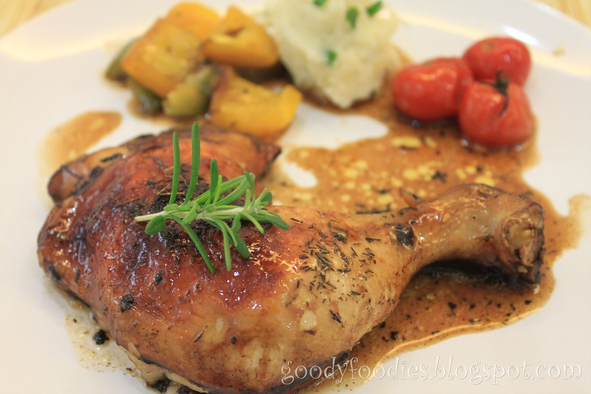 Balsamic chicken maryland with roasted vegetables and champ