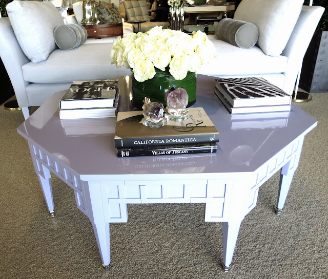 Lavender geometric coffee table from Windsor Smith for Century Furniture