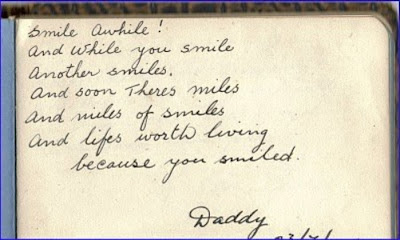 Autograph from dad about smiles
