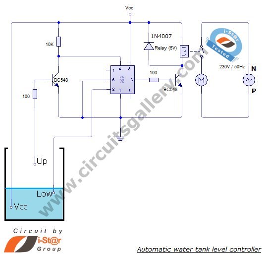 automatic water tank level controller motor driver circuit circuit diagram