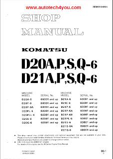 Komatsu D20-6, D21-6, D20-7, D21-7, D21A,P-8 Bulldozer