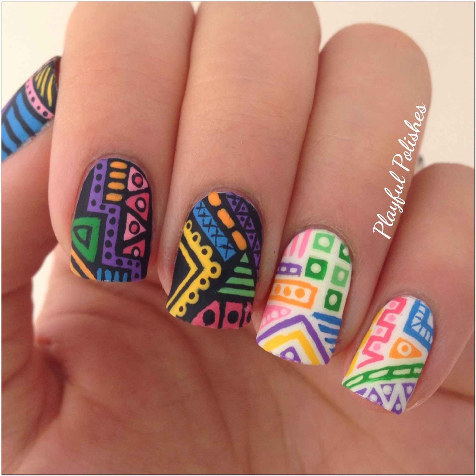 Playful Polishes: 31 DAY NAIL ART CHALLENGE: TRIBAL NAILS