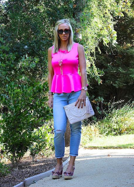 pink peplum skinny jeans