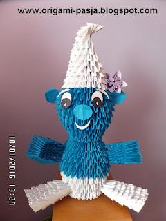 Mały smerf - origami modułowe.
