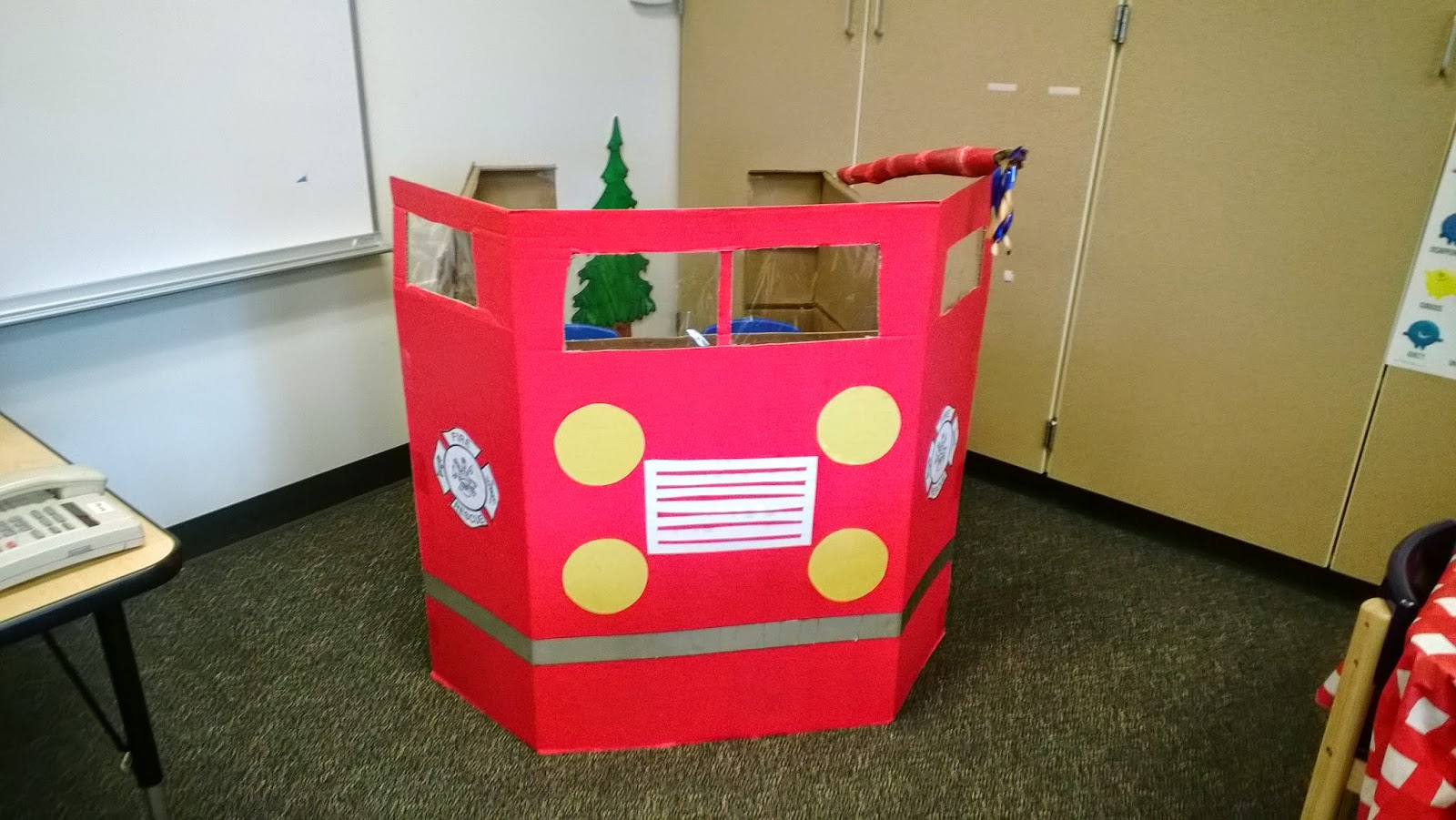 Fire Engine: Made With Red Tri Fold Display Board And A Large Cardboard Box.