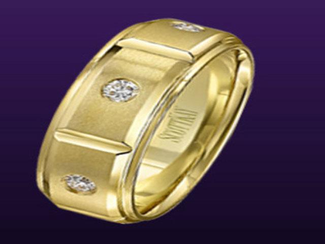Mens Gold Rings 3 Ctw Diamond Ring Brushed Gold Mens Wedding Band