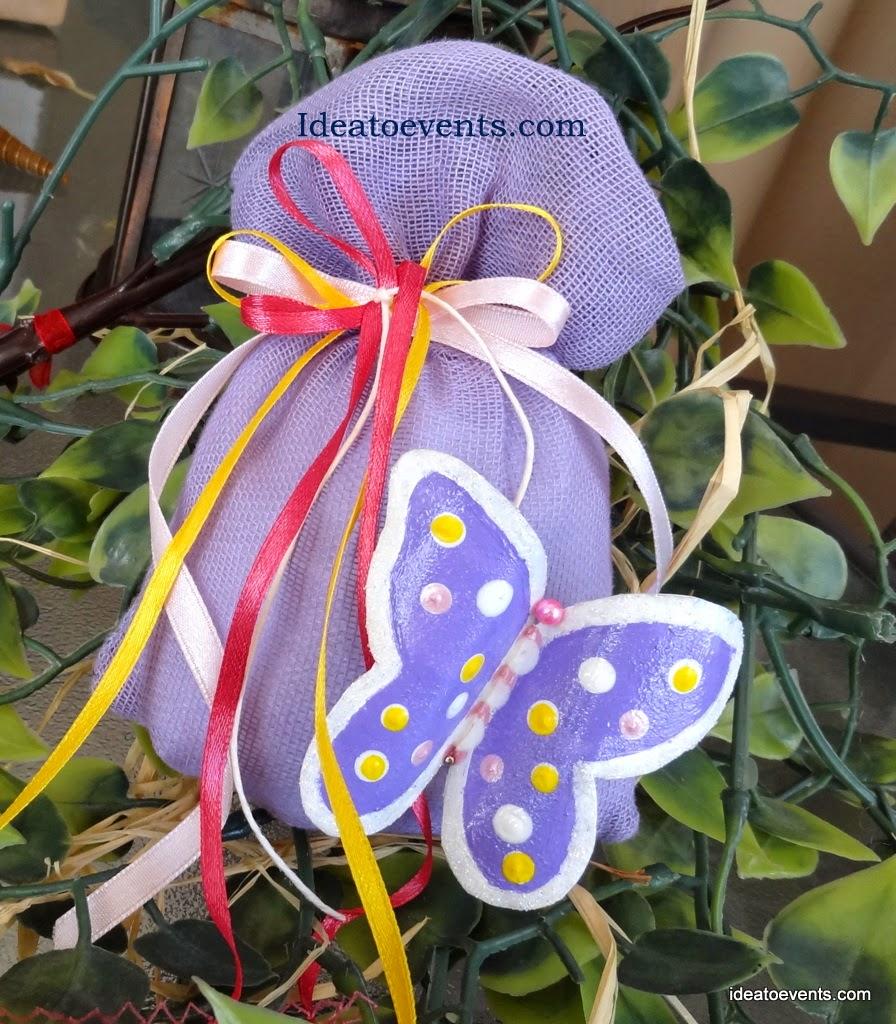 μπομπονιέρα βάπτισης κοριτάκι πεταλούδα ζωγραφική