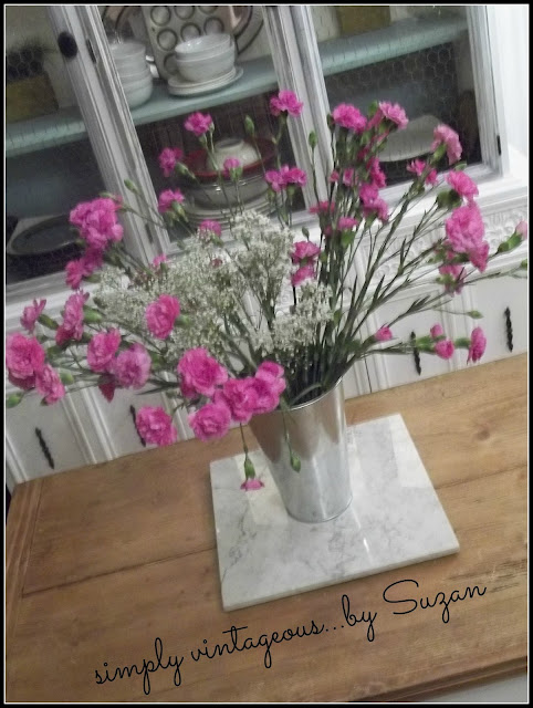 pink, carnations, miniature, table.
