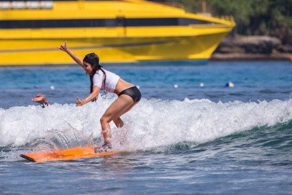 Vanessa Hudgens began adept at surfing when vacation in Bali