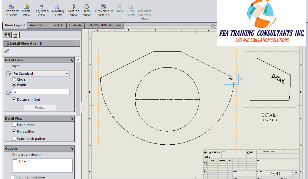 custom detailed view in solidworks