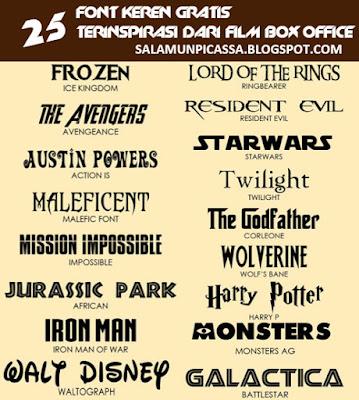 25 Font Keren Gratis Terinspirasi Dari Film Box Office