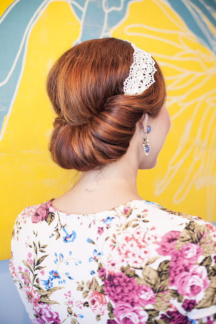 Amy West shows off this quick elegant up do using head band.