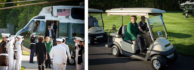 Angela Merkel getting off helicopter and riding golf cart - Camp David