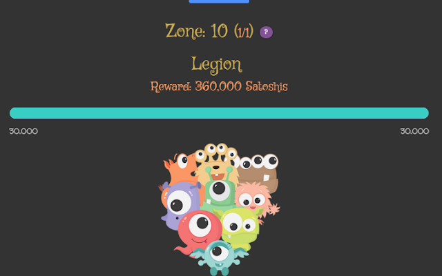 Defeat legion miniboss at Zone 10 of MonsterCoinGame free Bitcoin faucet game