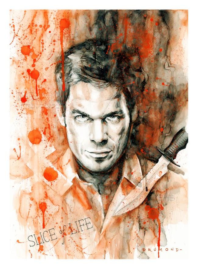 Ilustração Aquarela de Dexter por Drumond