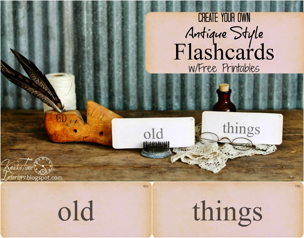 Antique Flash Card Printables from Knick of Time