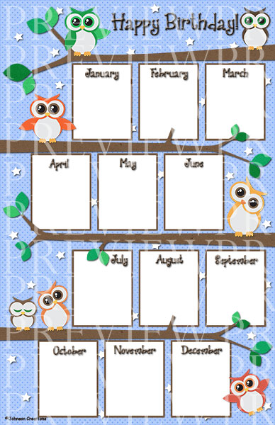 This 11 X 17 Owl Birthday Chart Will Look Super Cute Hanging On Your Classroom Wall Bulletin Board Or Posted In Calendar Area You Have Two Options