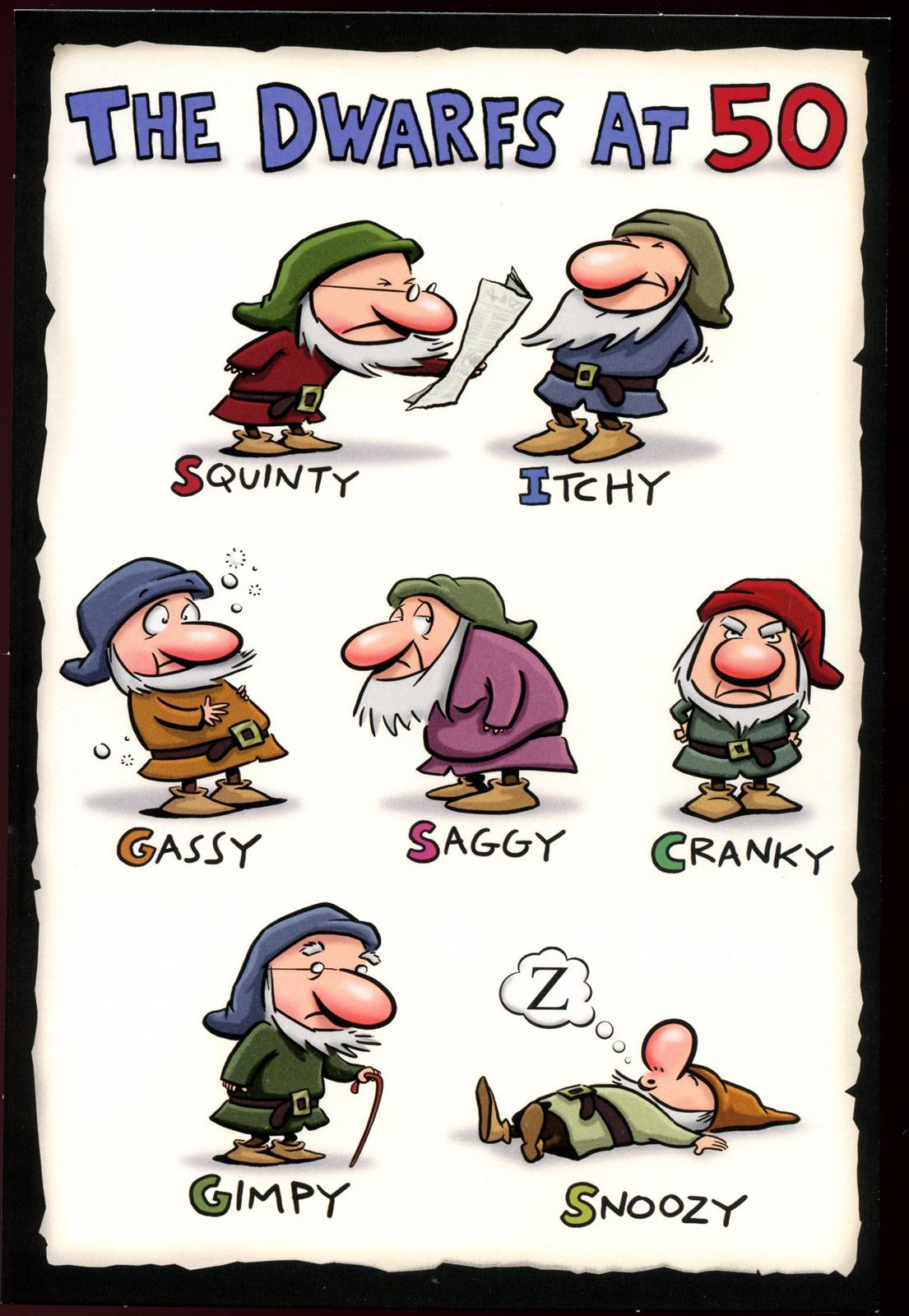 Dwarfs At 50 Birthday Card