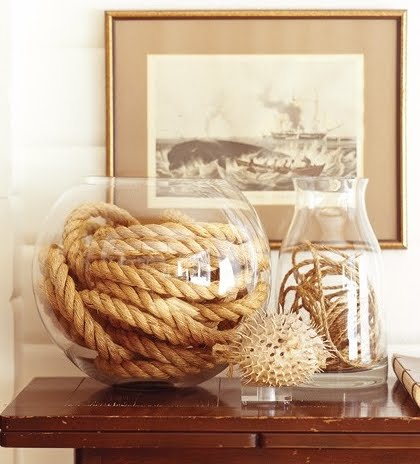 rope coil in glass vase
