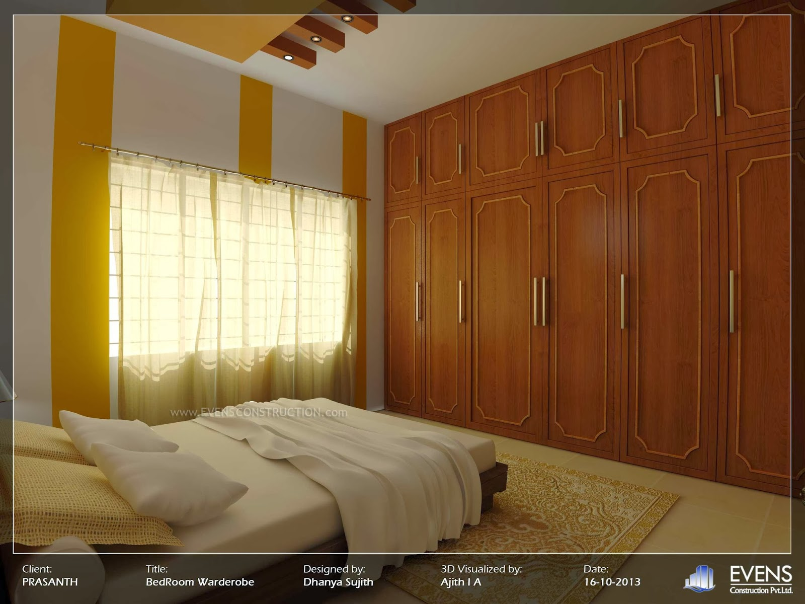 Evens Construction Pvt Ltd: Kerala Style Bedroom Wardrobe