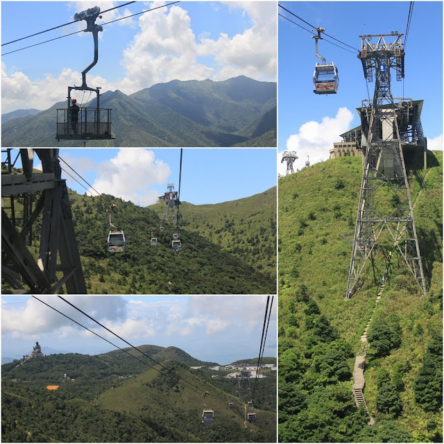 Riding on Cable Car from Tung Chung Cable Terminal to Ngong Ping Village and vice verse in Hong Kong