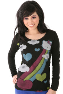 Hello Kitty Black colorful rainbow clouds and hearts T-Shirt