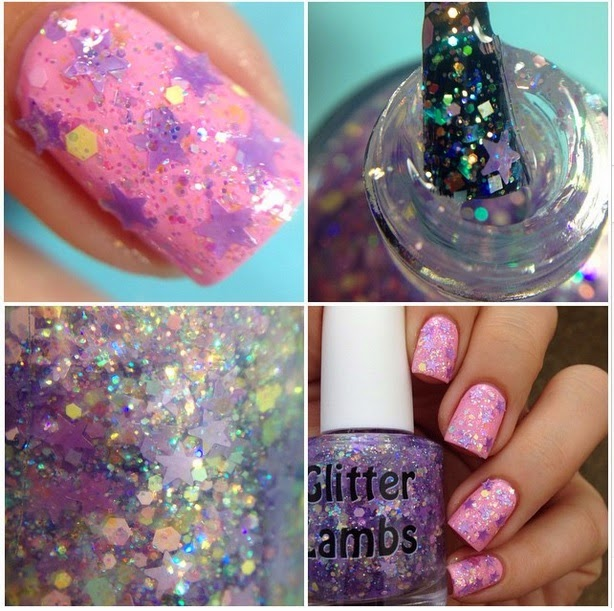 "Glitter Lambs ""Lilac Mascara""  Fashion Makeover Collection Glitter Topper Nail Polish"