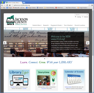 Image-capture of upper two-thirds of homepage, Jackson County Library Services website