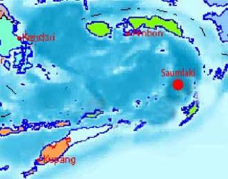 Gempa tektonik berkekuatan 5,1 skala Richter (SR) menguncang Saumlaki
