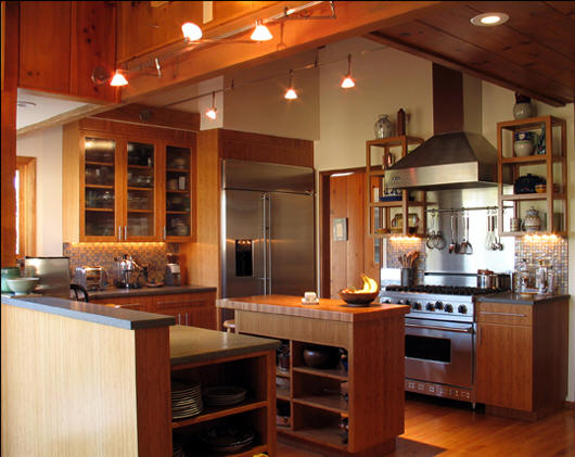 Modern house bamboo kitchen for Bamboo kitchen cabinets