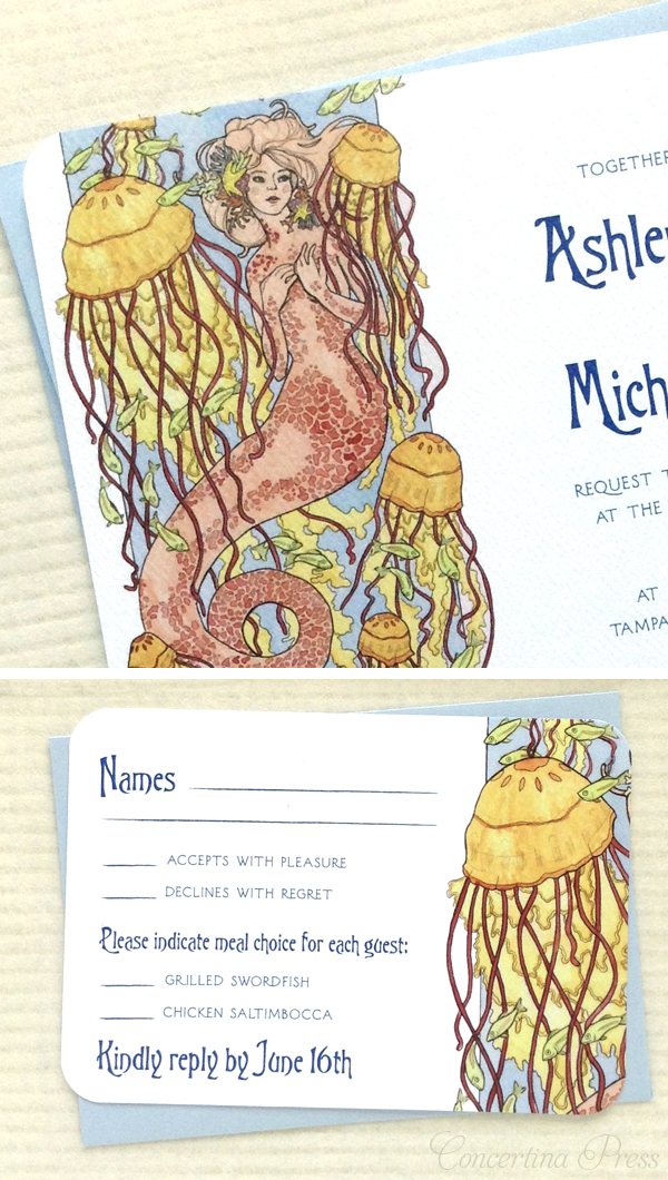 Mermaid wedding invitations or party invitations from Concertina Press