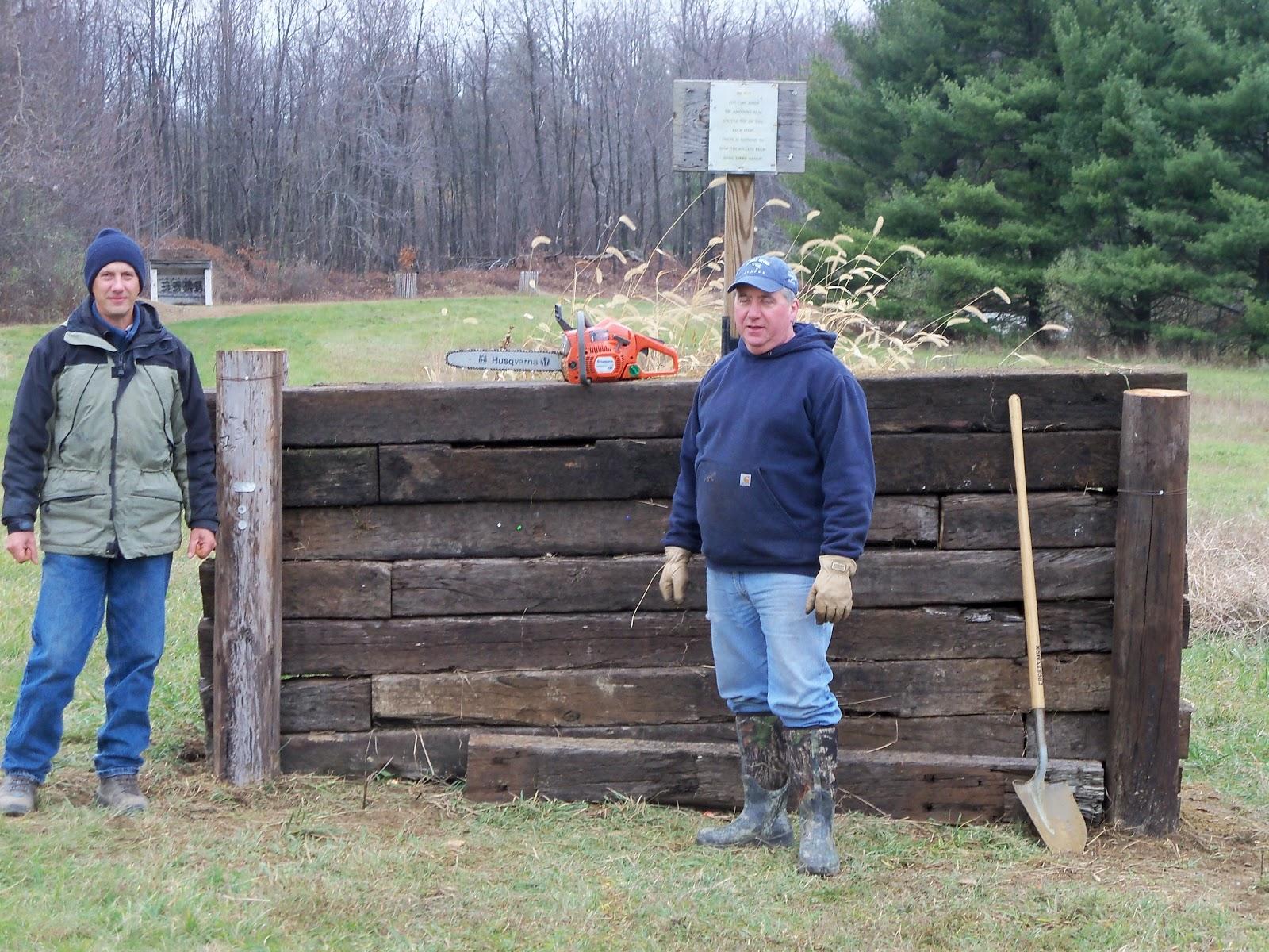 Backyard Archery Range Backstop :  Work party completes 50yard backstop & archery range; camp winterized