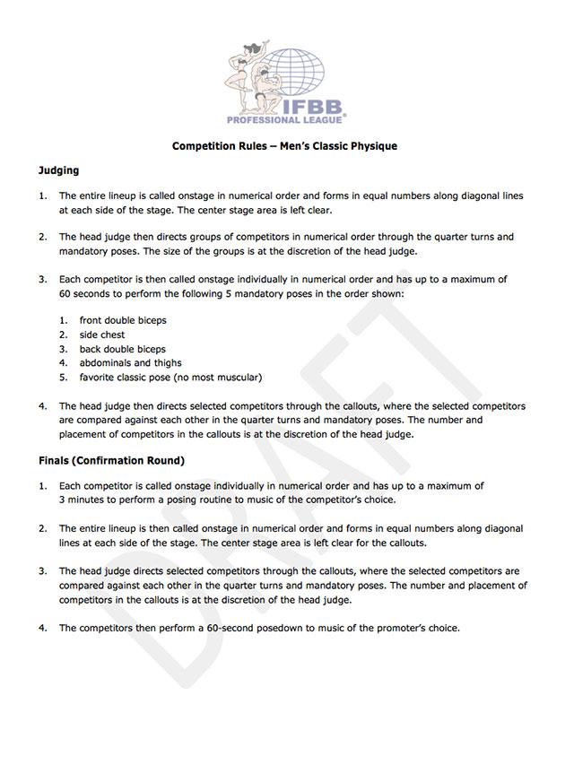 Regras de competição da categoria Classic Physique Pro. Foto: Reprodução