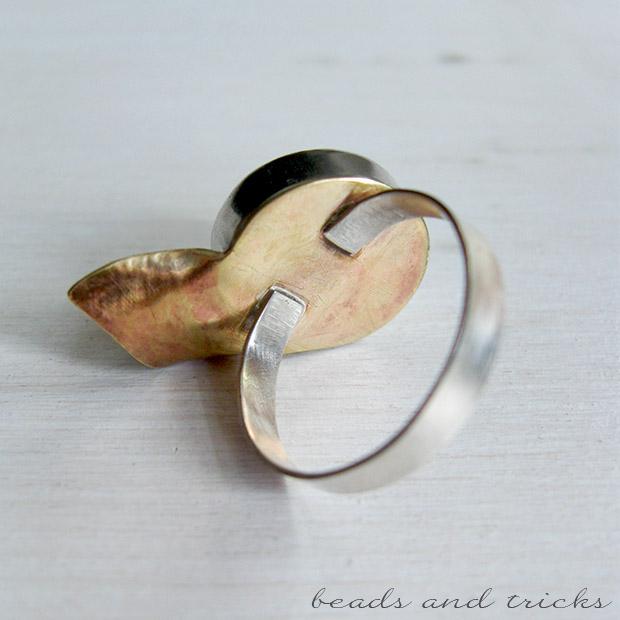 Gambo anello in argento e ottone similoro