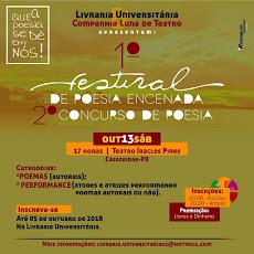 VEM AÍ... 2º FESTIVAL DE POESIA ENCENADA E 2º CONCURSO DE POESIA. 13/OUTUBRO, ÀS 17H, TEATRO ICA
